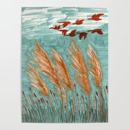 Geese Flying over Pampas Grass Poster