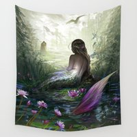 little mermaid Wall Tapestries featuring Little mermaid by milyKnight