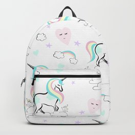 Standing tall Unicorn on cloud and heart pattern Backpack