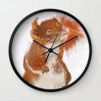 furry Wall Clocks featuring Furry Friend by tgronberg