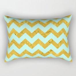 Golden chevron and blue Rectangular Pillow