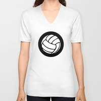 volleyball V-neck T-shirts featuring Volleyball Ideology by ideology