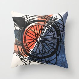 Where To Next? No. 1 Abstract Bike Wheel Linocut Block on Collage Travel Art Throw Pillow