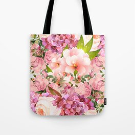 Natural Pink Flowers Tote Bag