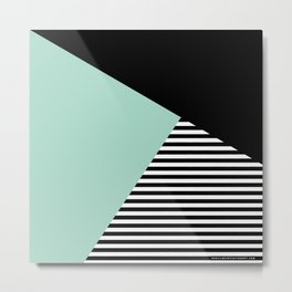 Mint Color Block with Stripes // www.penncilmeinstationery.com Metal Print