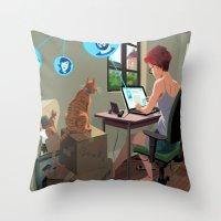 laptop Throw Pillows featuring Laptop by Josue Noguera