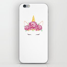 Unicorn with water color flowers accent iPhone Skin