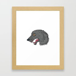 Grey Wolf Head Growling Drawing Framed Art Print