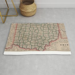 Vintage Map of Ohio (1883) Rug