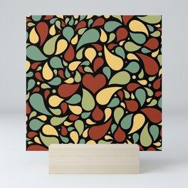 Heart surrounded by drops black pattern Mini Art Print