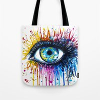 "power Tote Bags featuring ""Rainbow Eye"" by PeeGeeArts"