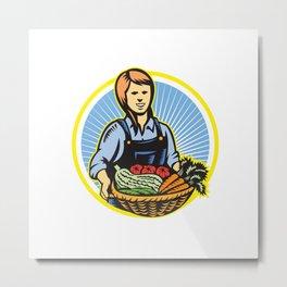 Organic Farmer Farm Produce Harvest Retro Metal Print