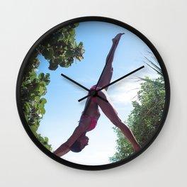 WOMAN - YOGA - POSE - BATHING - SUITE Wall Clock