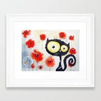 poppies Framed Art Prints featuring Poppies  by Katja Main