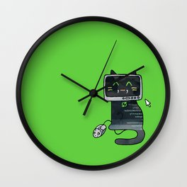Programmer cat  makes a website Wall Clock