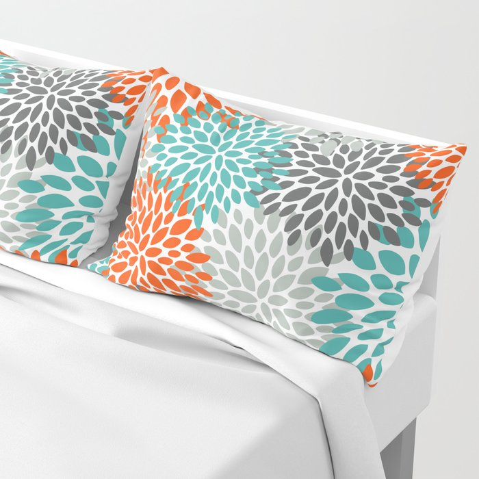 Floral Pattern, Abstract, Orange, Teal and Gray Kissenbezug