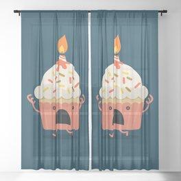 Cupcake on fire Sheer Curtain