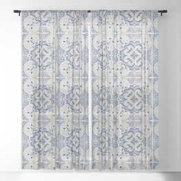 Vintage blue tiles pattern Sheer Curtain
