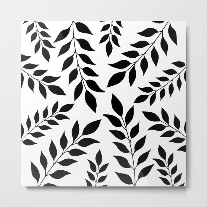 Black Leaves Pattern Metal Print