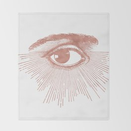 I see you. Rose Gold Pink Quartz on White Throw Blanket