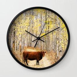 Cow in aspens Wall Clock