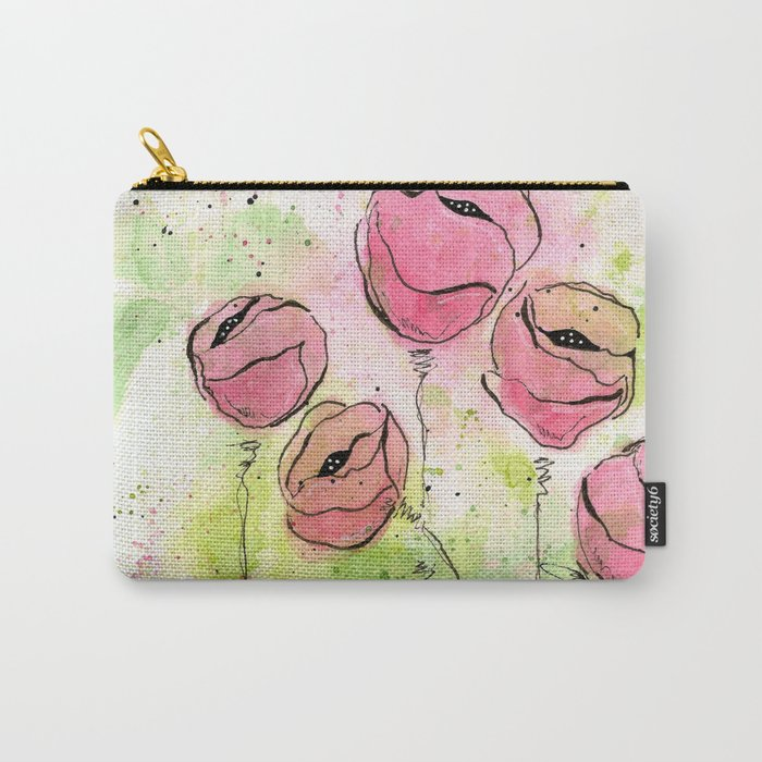 Pink and Green Splotch Flowers Carry-All Pouch