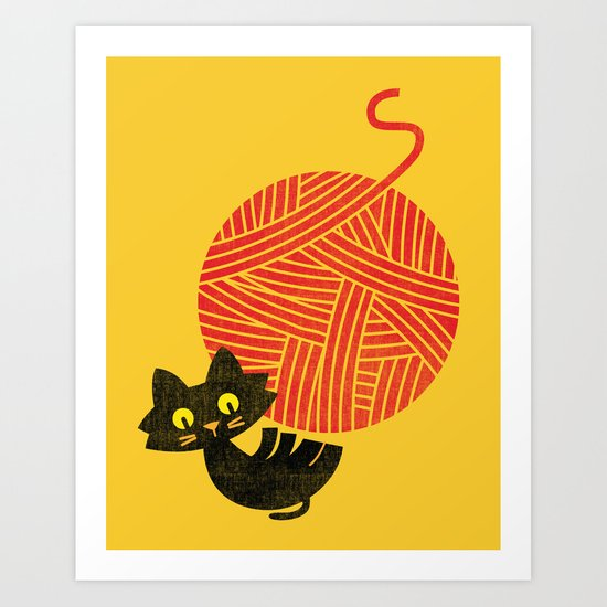 Fitz - Happiness (cat and yarn) Art Print