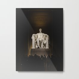 Abraham Lincoln monument statue illuminated at night Metal Print