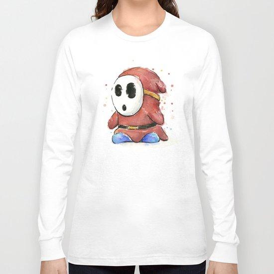 Shy Guy Watercolor Mario Art Long Sleeve T-shirt