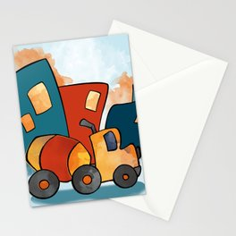 Cement Mixer, Construction Truck, Perfect for Child's Bedroom or Kid's Playroom Stationery Cards