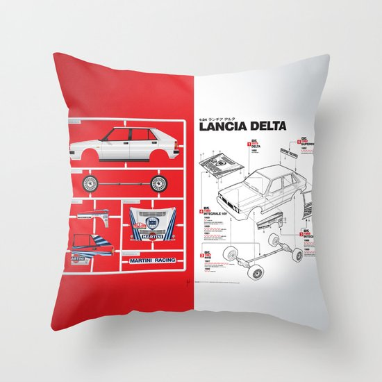 Lancia Delta History Model Kit in the WRC Throw Pillow