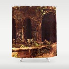 Carl Blechen - Grotto in The Park of The Villa d'Este near Rome - German Romanticism - Oil Painting Shower Curtain