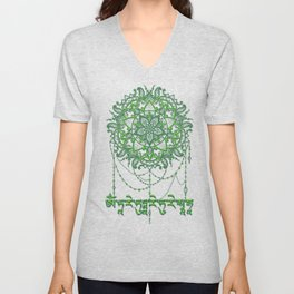 Green Tara Mantra with Mandala Unisex V-Neck