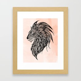 Peach Watercolor Lion Framed Art Print