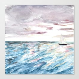 Sailboat at Sunset Watercolor Art, Ocean Waves, Anne Hockenberry Canvas Print