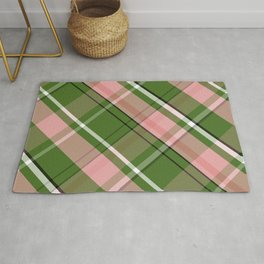 Pink and Green Preppy Plaid Rug