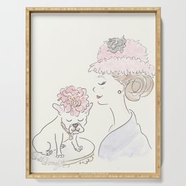 French Bulldog Flower Power : Fashion and Fluffballs Serving Tray