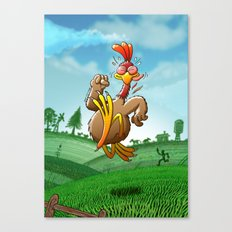 Chicken Running for His Life Canvas Print