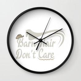 Horse Barn Hair Don't Care Cowboy Hat Horse Lover Wall Clock
