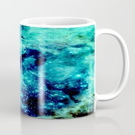 GALAXY. Teal Aqua Stars Coffee Mug