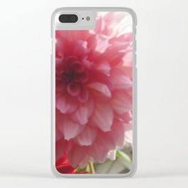 Pretty Pink Dahlia Ruffles Clear iPhone Case