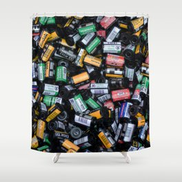 Stack of Old Camera Film Shower Curtain