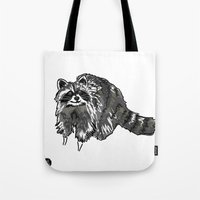 racoon Tote Bags featuring Racoon by HelloDarlingDesign
