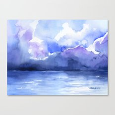 Stormy Ocean Watercolor Canvas Print