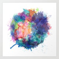 water colour Art Prints featuring Water Colour Kaleidoscope by a little Piece of Pie