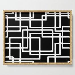 Interlocking White Squares Artistic Design Serving Tray