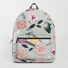 Joyful winter muted floral pattern with bird Backpack