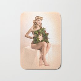 """Better Than an Ugly Sweater"" - The Playful Pinup - Christmas Wreath Pin-up by Maxwell H. Johnson Bath Mat"