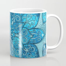 Blue  Frosted Stained Glass Flower Pattern Coffee Mug