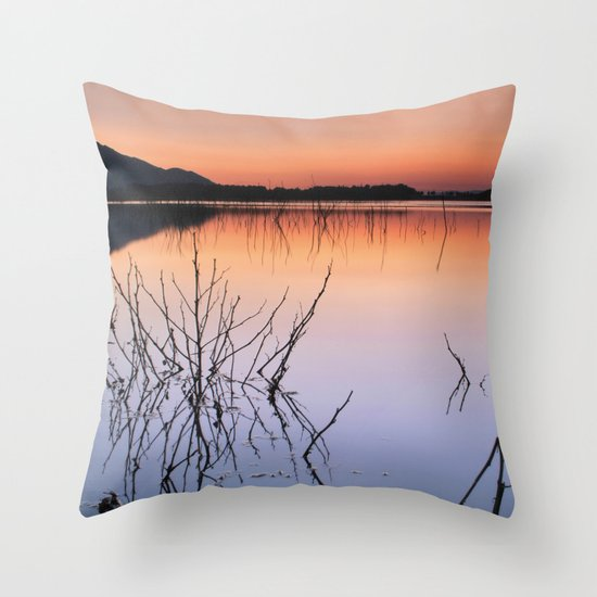 Sunset on the calm lake Throw Pillow